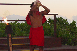 Blowing Conch shell at luau in Hawaii.